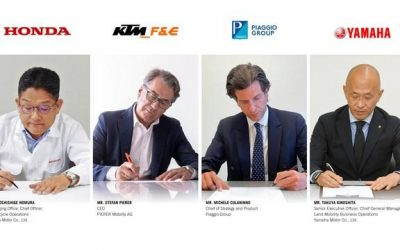 """Accordo storico: Yamaha, Honda, Piaggio e KTM si alleano per lo sviluppo di """"swappable batteries"""". Nasce SBMC."""